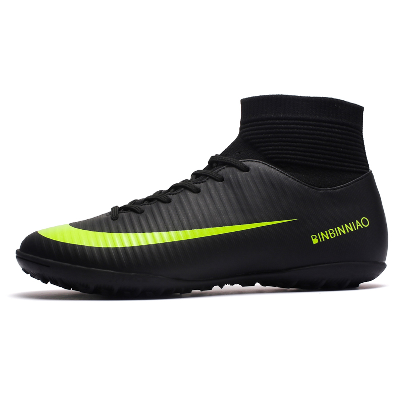 ZHENZU Turf Indoor Black Men Soccer Shoes Kids Cleats Training Football Boots High Ankle Sport Sneakers Size 35-45 Dropshipping lime green doc martens