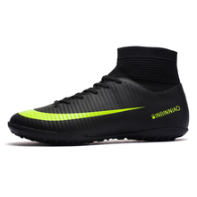ZHENZU Turf interior negro hombres fútbol Zapatos Niños entrenamiento botas de fútbol alto tobillo deporte Zapatillas tamaño 35-45 dropshipping. exclusivo.