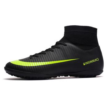 ZHENZU Turf czarne buty piłkarskie dla mężczyzn dzieci knagi buty piłkarskie treningowe wysoka kostka Sport rozmiar butów 35-45 Dropshipping tanie i dobre opinie Murawa (tf) Średnie (b m) 8181 RUBBER Lace-up Bezpłatne elastyczne Syntetyczny Pasuje prawda na wymiar weź swój normalny rozmiar