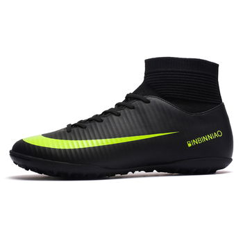 ZHENZU Turf Black Men Soccer Shoes Kids Cleats Training Football Boots High Ankle Sport Sneakers Size 35-45 Dropshipping