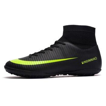 ZHENZU gazon intérieur noir hommes chaussures de Football enfants crampons formation Football bottes haute cheville Sport baskets taille 35-45 livraison directe