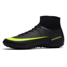 ZHENZU gazon intérieur noir hommes chaussures de Football enfants crampons formation Football bottes haute cheville Sport baskets taille 35 45 livraison directe