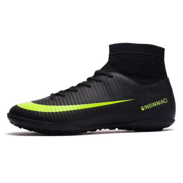 ZHENZU מקורה דשא שחור גברים כדורגל נעלי ילדים סוליות אימון כדורגל מגפיים גבוה קרסול ספורט סניקרס גודל 35-45 dropshipping