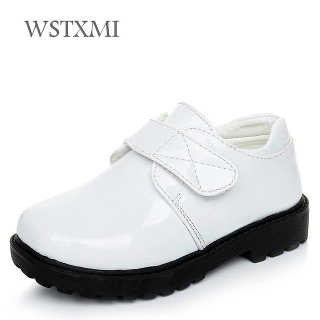 Boys School Leather Shoes for Children Classic Wedding Party Student Show Shoes Brand Kids Oxford Dress Banquet Shoe White Black