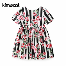 Kimocat Baby Girl Clothes 2018 New Arrival Rose Print Sweet Princess Dress Children Costume for Kids Clothes Baby Dress Dropship summer girl clothes new strap dress rose print children s wear vestidos baby 4 11 y children quality clothing 2019 hot sale