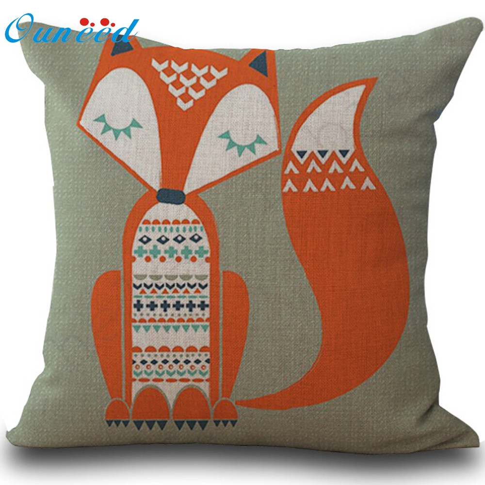 Bed pillows decorative - Ouneed Decorative Fox Print Bed Home Decoration Pillow Case Cushion Cover For Sofa U61213