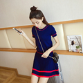 Women Knit Short Sleeve Tops and A-Line Skirt 2 Piece Sets 2017 Spirng Summer New Striped Knitted Elastic Waist Skirt Suits L035
