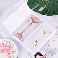 10 компл. высокосортный металлический роллер для массажа лица подарок в коробке натуральный розовый кварц для похудения против морщин целлю