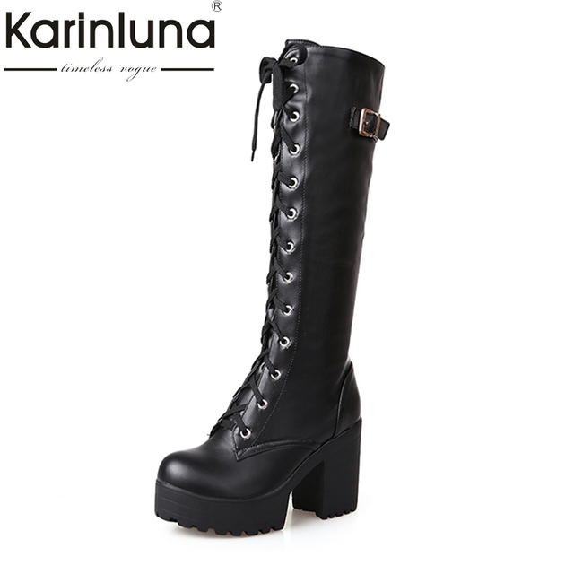 plus size 34-43 Sexy square high heel Knee High Boots Women Lace Up Thick Platform Winter Shoes With Fur Snow Boot cheap sneakernews discount choice BX5Mr