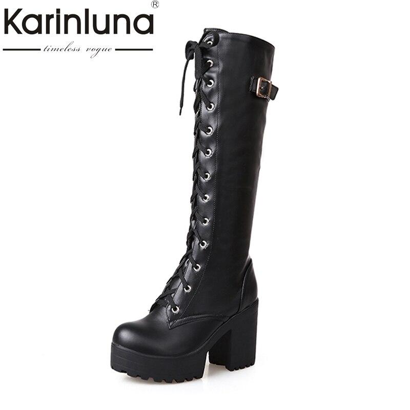 Karinluna/Большие размеры 34-43 пикантные квадратный Высокий каблук Сапоги до колена Для женщин Кружево Up толстые зимние ботинки на платформе с зимние сапоги на меху