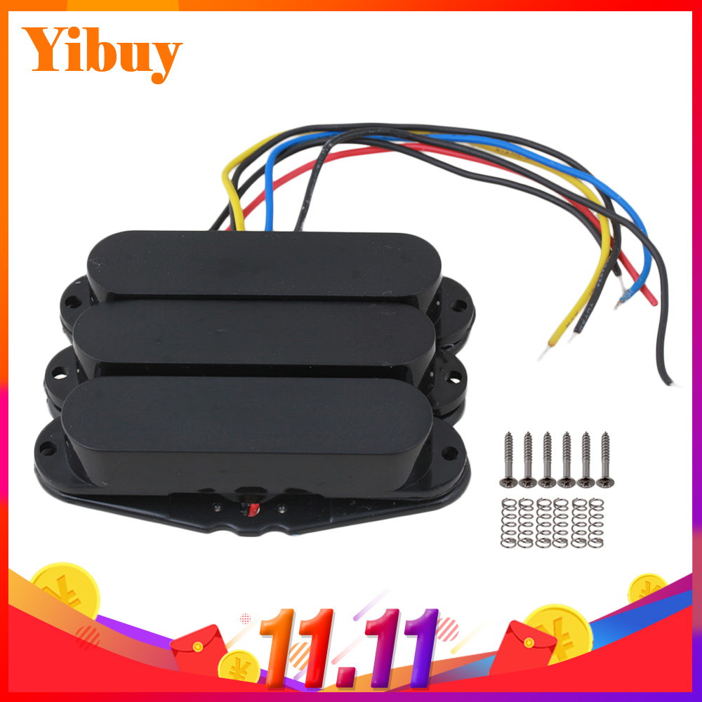Yibuy Black Single Coil Guitar Pickups pick-Up pickups For Set yibuy gold vintage lipstick tube pickup for single coil electric guitar