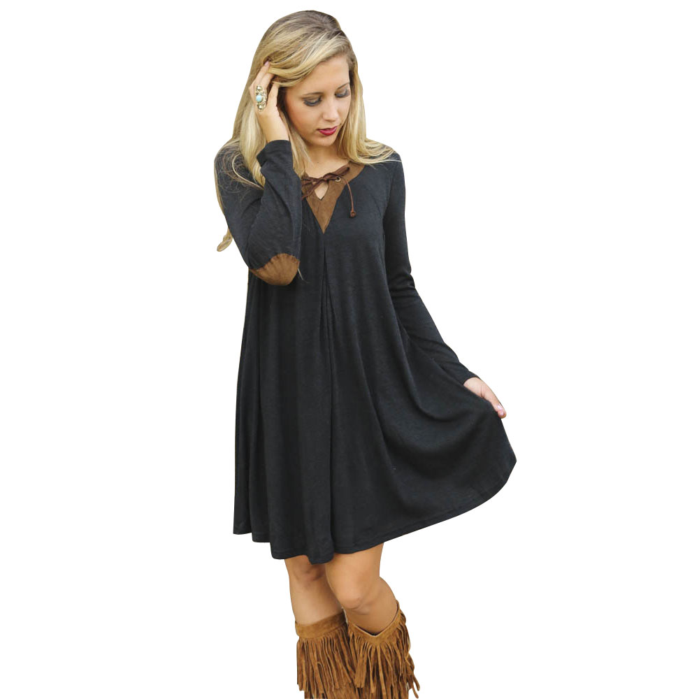 Black dress loose - Latest Women S High Quality Dresses Black V Neck Casual Dress Long Sleeve Bandage Dress Sexy Lady