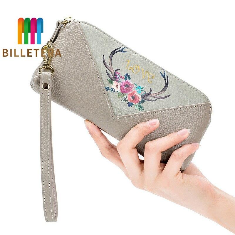BILLETERA Clutch-Bag Printed Women Long Genuine-Leather Famous-Brand