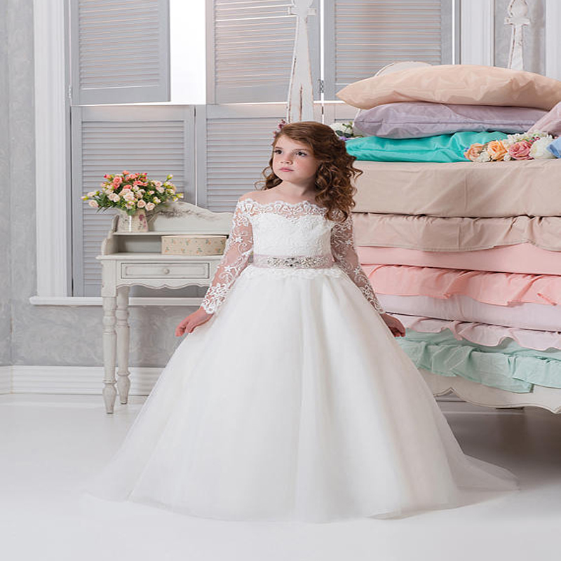 Long Sleeve Flower Girl Dress For Wedding A-Line Dress Kids Clothes Toddler Children Events Special Dresses Lace girls dreses toddler girl dresses chinese new year lace embroidery flowers long sleeve baby girl clothes a line red dress for party spring