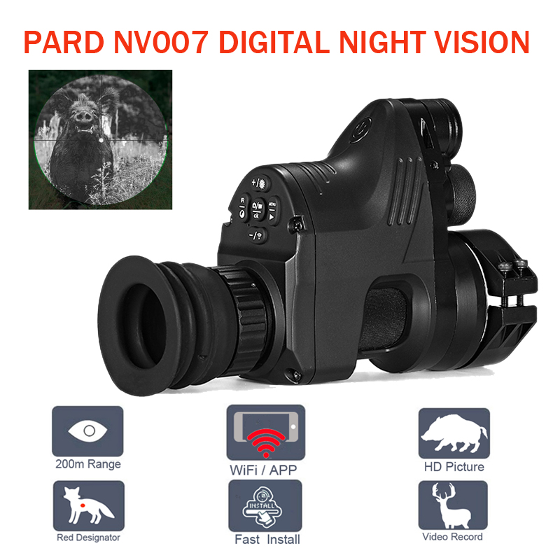 PARD NV007 200 m Digital rango de caza el alcance de la visión nocturna Wifi óptica Telesopes 5 W IR infrarrojo visión nocturna Riflescope con APP