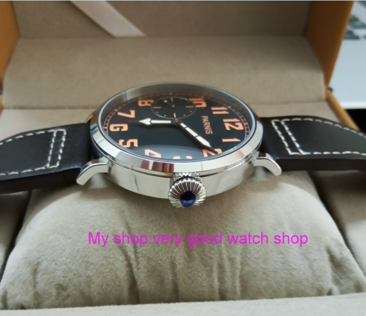 46mm parnis Black dial Asian 6497 17 jewels Mechanical Hand Wind movement men watch luminous Mechanical watches zdgd188a