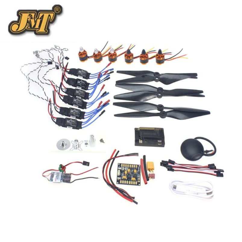 JMT DIY GPS Drone 6-axle Aircraft Electronic:920KV Brushless Motor 30A ESC BEC 1038 Propeller GPS APM2.8 Flight Control rc hexacopter six axis aircraft electronic 700kv brushless motor 30a esc 1255 propeller gps apm2 8 flight control f15276 a