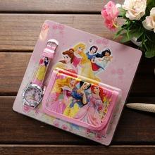 2018 new cartoon princess watch with wallet, birthday gift for children, fabric wallet and cartoon watch set quartz clock