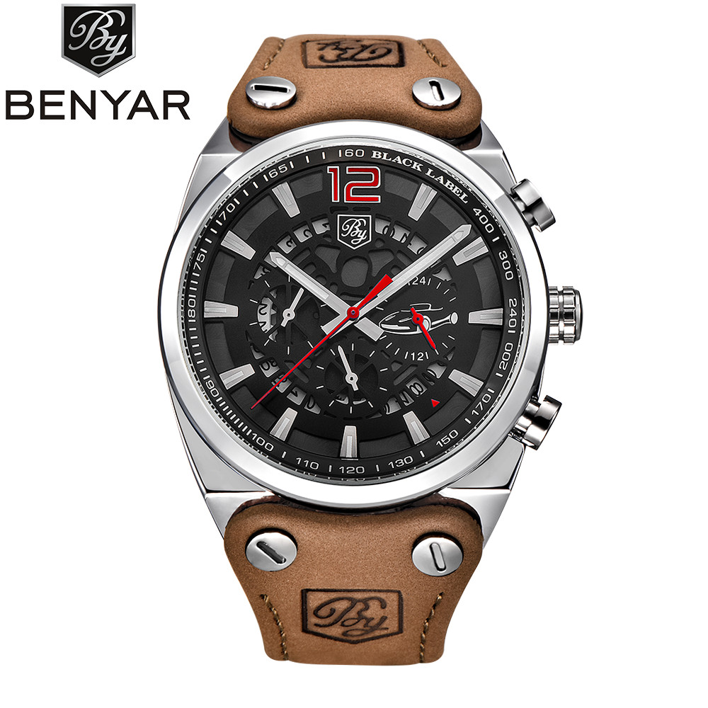 cc6826205ce 2017 New BENYAR Chronograph Sport Military Watch Men Fashion Leather Quartz  Wristwatch Mens Watches Top Brand Luxury Male Clock - aliexpress.com -  imall.com