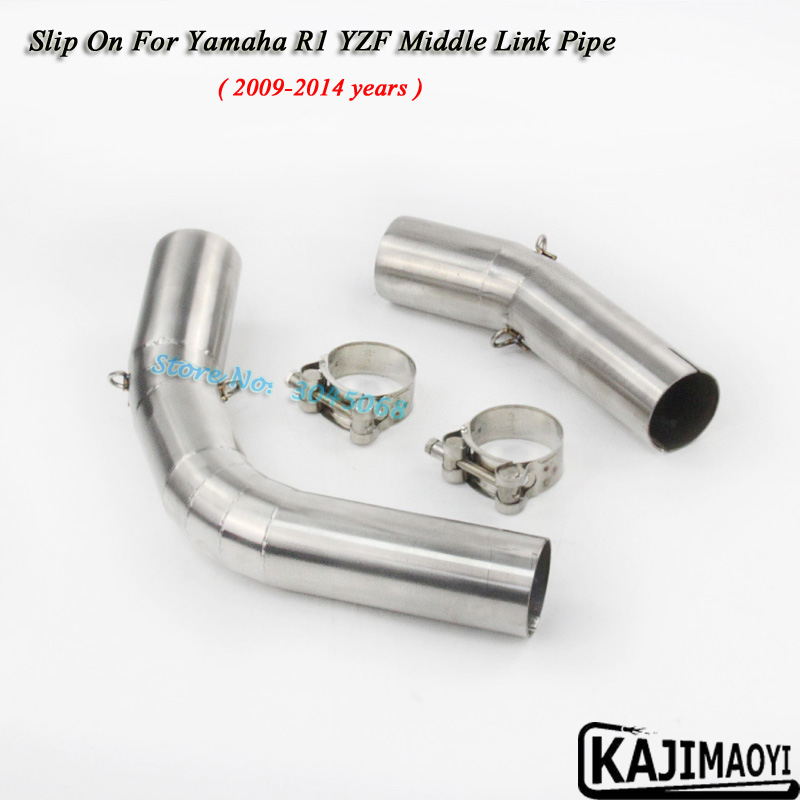 Slip On For YZF-R1 Motorcycle Exhaust Pipe Escape Moto Muffler Middle Tube Link Pipe For Yamaha R1 YZF 2004-06 07-08 09-14 years motorcycle link pipe stainless steel carbon fiber exhaust muffler silence set link middle pipe for yamaha r1 2009 2014 slip on