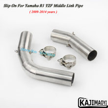Slip On For YZF-R1 Motorcycle Exhaust Pipe Escape Moto Muffler Middle Tube Link Pipe For Yamaha R1 YZF 2004-06 07-08 09-14 years(China)