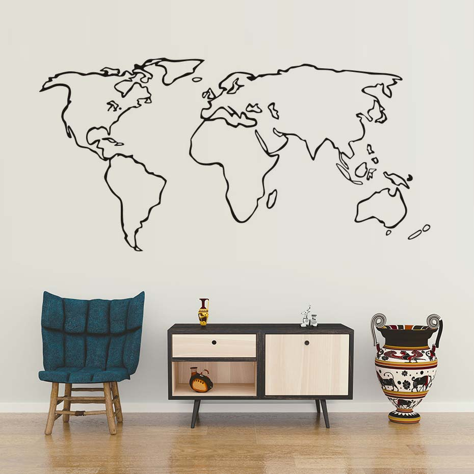 Creative world map wall sticker modern minimalism vinyl wall art dctop large world map vinyl wall sticker for living room adhesive removable map outline wall decals gumiabroncs Gallery