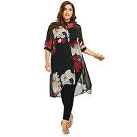 CharMma 2017 New Fashion Plus Size 5XL Longline Button Up Flowy Tunic Top Women Casual Loose Chiffon Floral Print Shirt Big Size