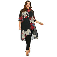 CharMma 2017 New Fashion Plus Size 5XL Longline Button Up Flowy Tunic Top Women Casual Loose