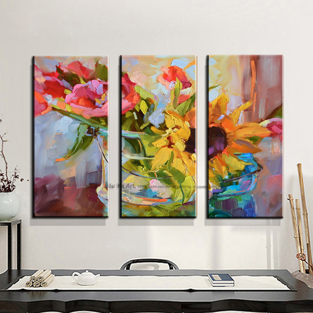 3 piece abstract modern canvas wall art decorative acrylic painting ...