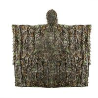 Mens Camouflage 3D Leafy Leaves Clothing Coat Jungle Woodland Hunting Camo Poncho Cloak Military Tactical Sniper Airsoft Clothes
