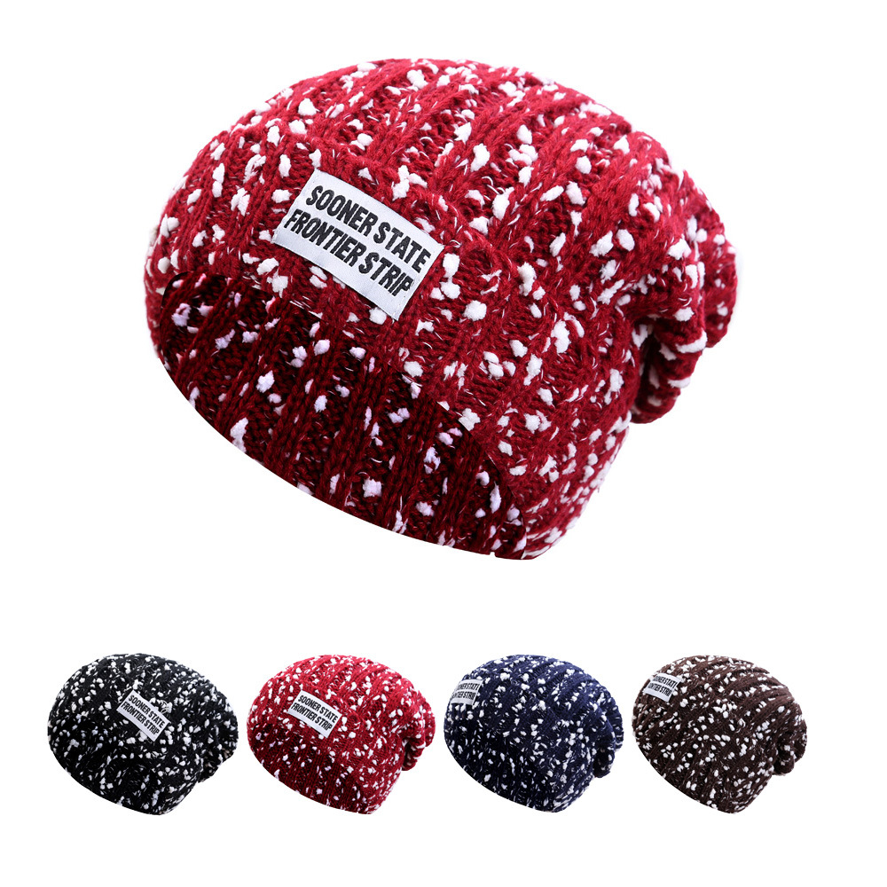Brand New Autumn Winter Hiphop Women's Warm Casual Acrylic Slouchy Knitted Hat Men Thick Crochet Skullies Beanie For Couple