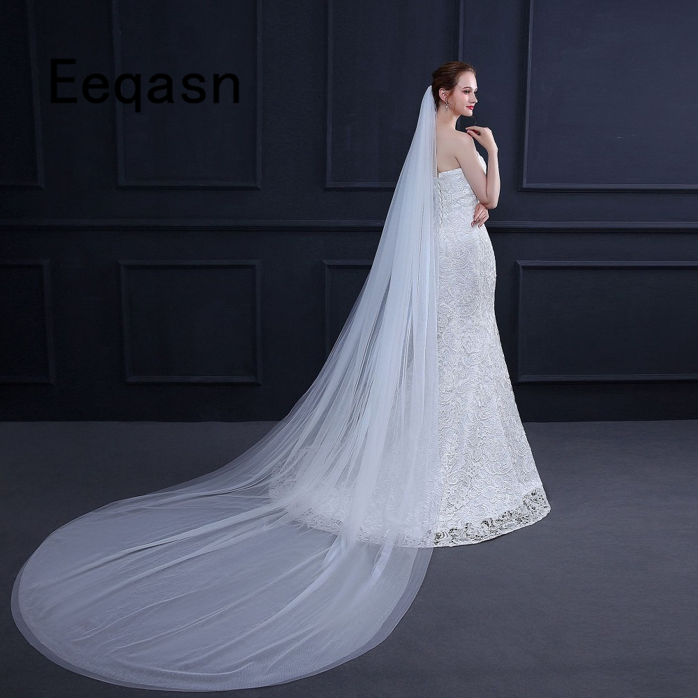 2019 Two Layer Long Wedding Veil With Comb 3 Meters Cathedral Simple Bridal Veil Wedding Accessories velo de novia
