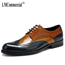 High Quality Genuine Leather Shoes Men,Lace-Up Business Men Shoes,Men Dress Shoes British retro all-match cowhide spring autumn цена 2017