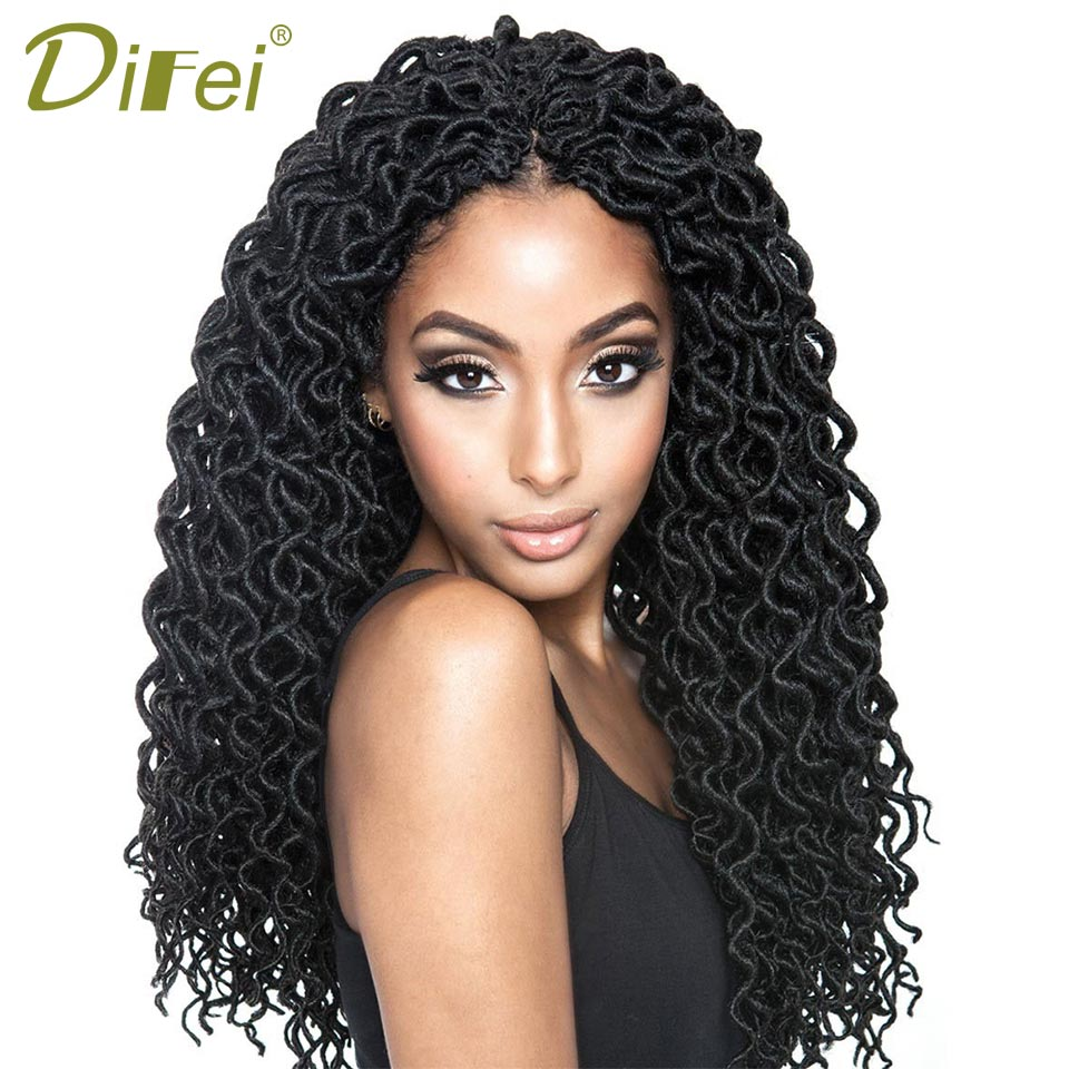 DIFEI 24 Roots 20 Inch Goddess Faux Locs Curly Crochet Braids Hair Ombre Kanekalon Synth ...