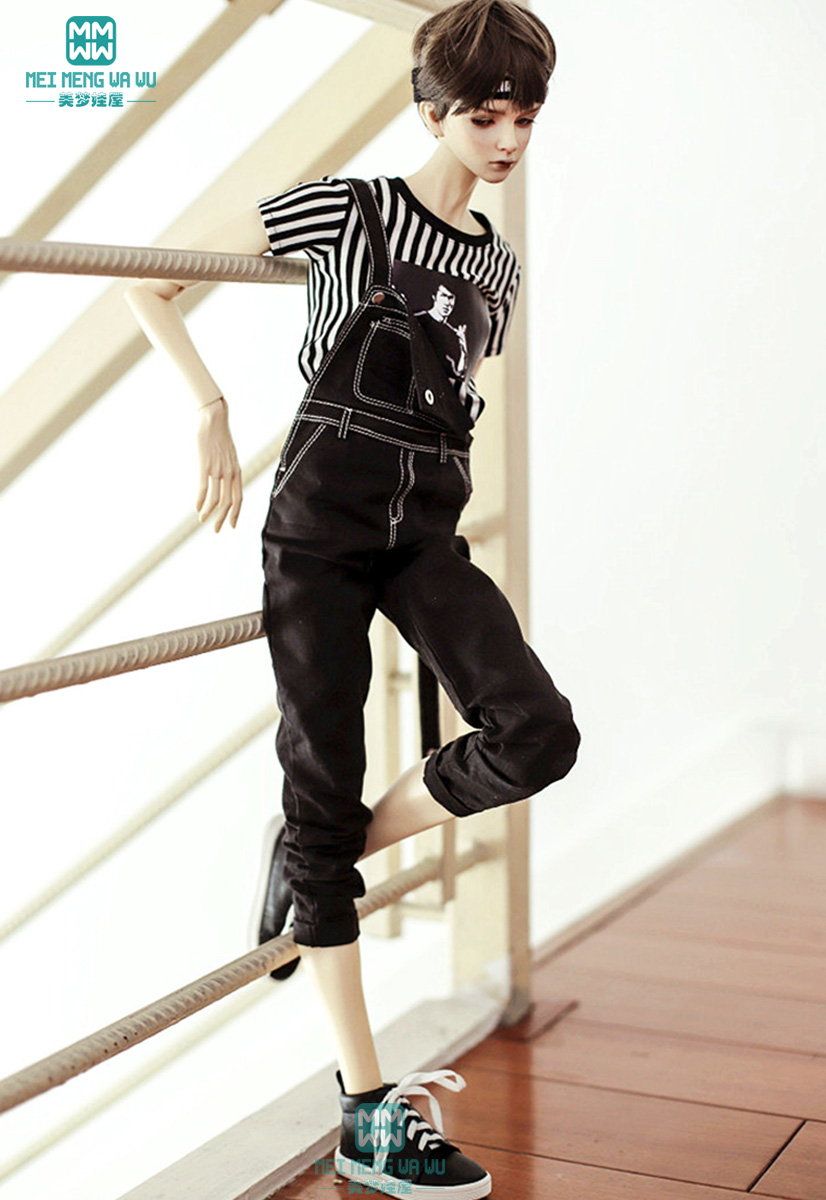 BJD Doll Clothes Fits BJD Uncle Fashion Wild Handsome Strap Jeans Black Army Green Denim Blue