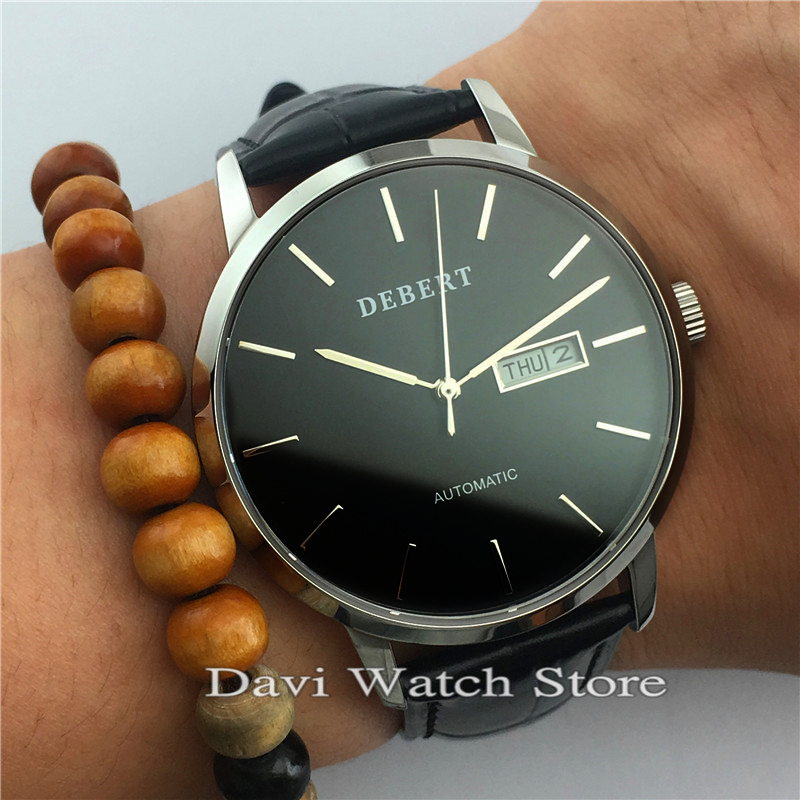 Debert 40mm Sapphire Leather Strap Automatic Day and Date Movement Watches