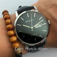 Debert 40mm ספיר רצועת עור אוטומטי יום ותאריך תנועה שעונים-בשעונים מכניים מתוך שעונים באתר
