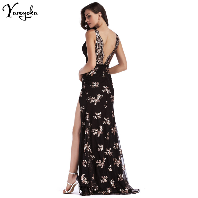 Sexy Deep V Neck Sequin Summer Dress women Evening Backless Luxury Night club Party Dresses Elegant Sling Long Maxi Dress 2020 3
