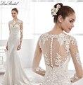 Cordón de La Sirena Vestidos de Novia 2016 Mangas Largas Opacidad Vestidos de Novia gelinlik Barrer de Tren vestido de noiva robe de mariage