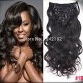 Peruvian African American Clip In Human Hair Extensions 7A Natural Black Body Wave Virgin Hair 7pcs/set Peruvian Clip Ins Hair