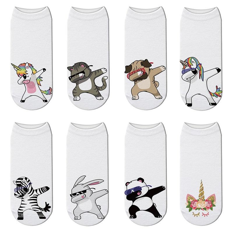 New 3D Printed Zebra Cotton Socks Women Cartoon Unicorn Funny Short Socks Puppy Panda Swag Ankle Kawaii Socks