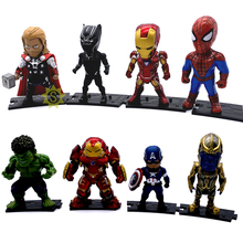 BIXE LOT 8pcs/set Marvel Avengers Infinity War Thanos Ironman Spiderman Captain American Hulk Black Panther Figure Model Toys avengers infinity war iron man captain america spiderman hulk black panther thanos pvc figures toys 6pcs set