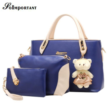Multi Function Women Bag  New Hot PU Leather Women Composite Bag For 4 Sets Handbag+ Messenger Bag +Shoulder Bag+Purse+Doll
