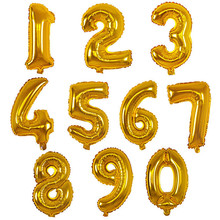 32 16 inch blue gold pink silver number balloons black big number figure digit foil birthday