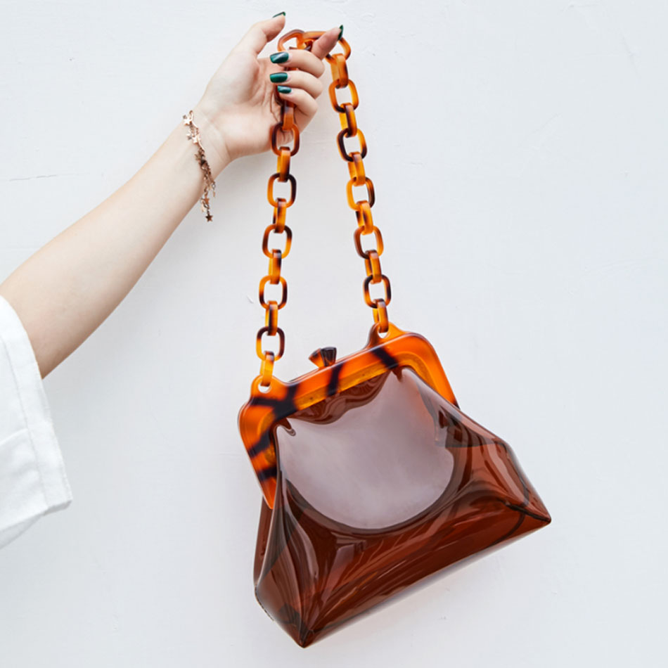 Transparent bag 2018 women's new holiday chain female bag Mini Shoulder Bag pvc Bucket bag