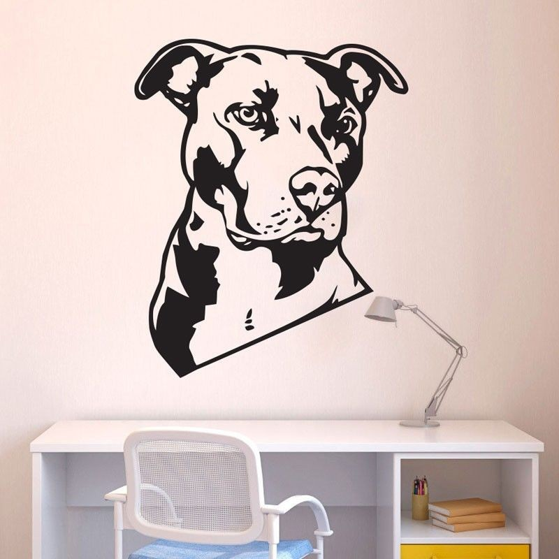 ④New Fashion Dog Animal Pit Bull Removable Wall Decal Art Home ...
