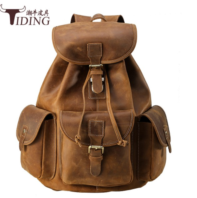 Men Cow Leather Luxury Anti Theft Travel Laptop School Backpack Bags 2018 Man Leather Vintage Brand Fashion Designer Backpacks genuine cow leather vintage casual mens women backpack shoulder crossbody bags men travel backpacks for man school laptop bag