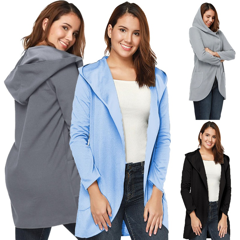 High Quality Solid Color Loose Womens Hooded Coat Long Sleeves Fashion New Casual Woolen Jacket