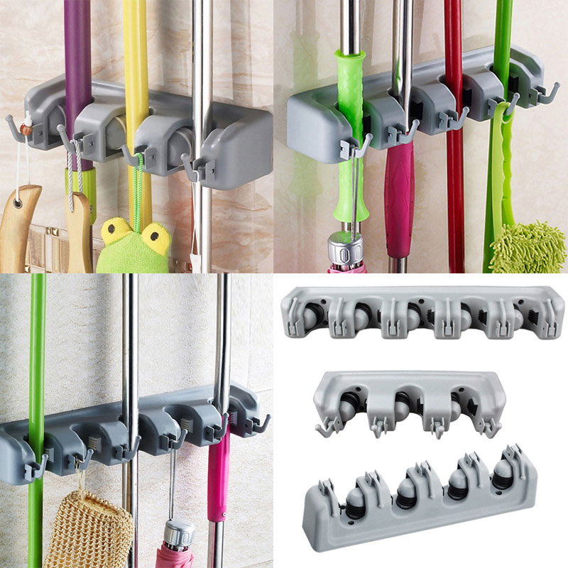 5 Position Mop Broom Brush Organizer Holder Storage Wall Mounted Rack Hanger