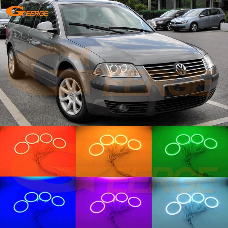 Для Volkswagen Фольксваген Пассат Б5.5 3BG 2001 2002 2003 2004 2005 отличный RGB светодиодные Ангел глаза комплект Мульти-Цвет Ультра яркий гало кольца